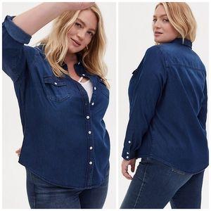 Torrid Dark Wash Denim Button Down Shirt